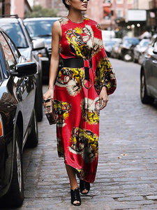 Fashion Vintage Tiger Head Print Strapless Dress