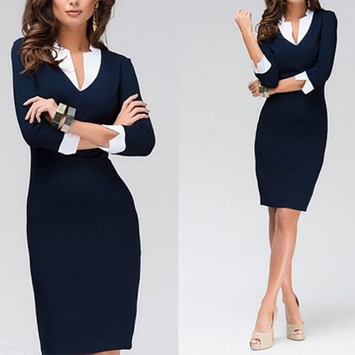 Sexy Slim Cropped Sleeve Work   Dress