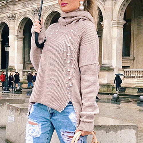 Fashion Beaded Super Soft   Sweater
