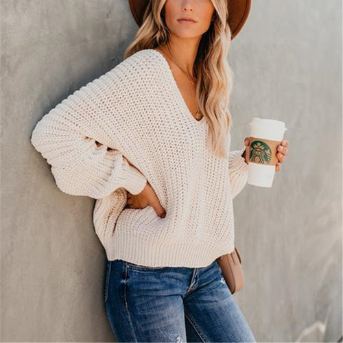 Double V Off-The-Shoulder Short Sexy Thick Needle Sweater