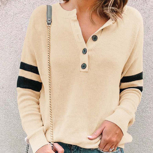 Sexy Round Neck Button Comfort   Color Top