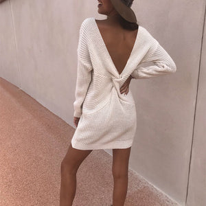 Solid Color Sexy Deep V Open   Back Dress