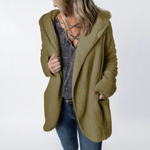 Lapeled Plush Casual Hooded Cardigan