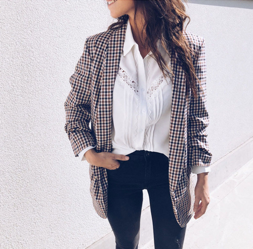Fashion Lapel Long Sleeve Printed Plaid Blazer