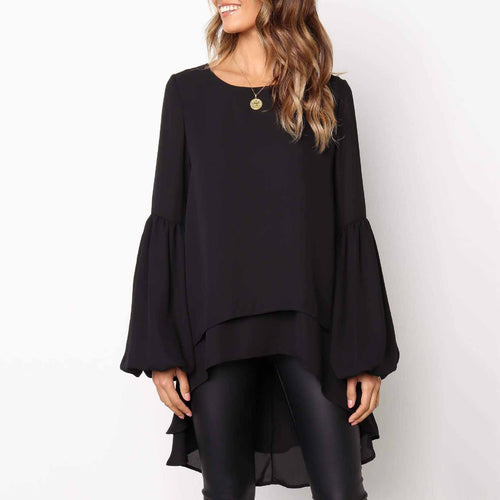 Sweet Round Collar Plain Lantern Sleeve Irregular Shirt