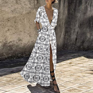 Deep V-Neck Bohemian Printed Vacation Dress