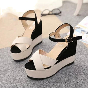 Leather Soft Color Peep Toe Sandals Shoes