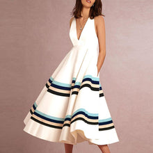 Sexy V-Neck Printed Stripe vacation Dress