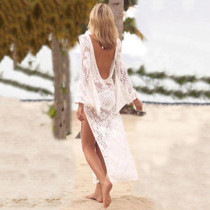 V Collar Sexy Halter Split Lace Vacation Dress
