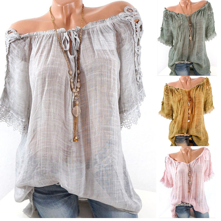 Spring Summer  Polyester  Women  Open Shoulder  Decorative Lace  Plain  Short Sleeve Blouses