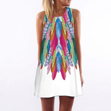 Round Neck  Abstract Print  Sleeveless Casual Dresses