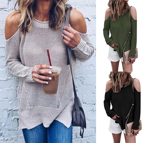 Round Neck Hollow Out Long Sleeve Elegant Sweaters