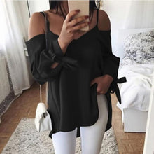 Sexy Sling V-Neck   Loose Long Sleeve T-Shirt