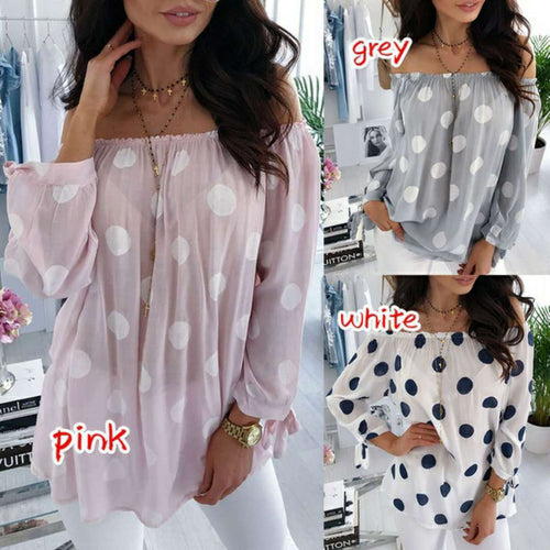 Casual Long Sleeve Off-Shoulder Dot Print T-Shirt