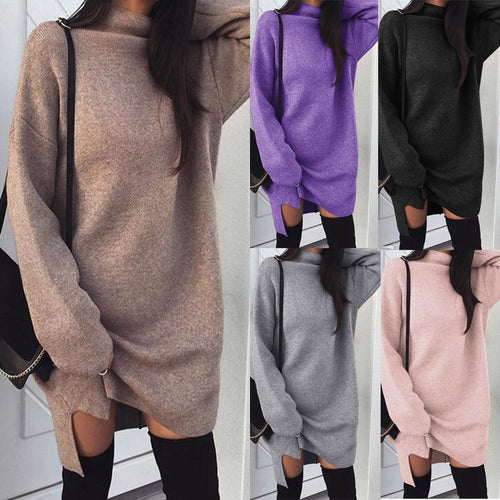 High Neck  Plain  Batwing Sleeve  Long Sleeve Casual Dresses