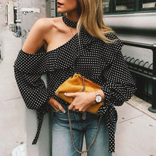 Stylish Halter Neck Wave Point T-Shirts Blouses