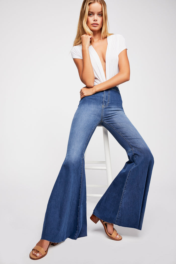 Just Float On Flare Jeans Jericho Blue