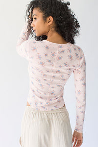 One Of The Girls Printed Henley