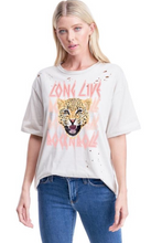 Load image into Gallery viewer, Long Live Cheetah Distressed Tee