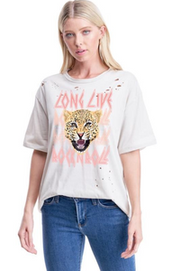 Long Live Cheetah Distressed Tee