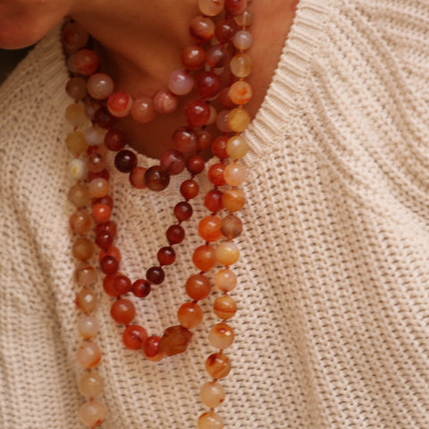 layered carnelian necklaces