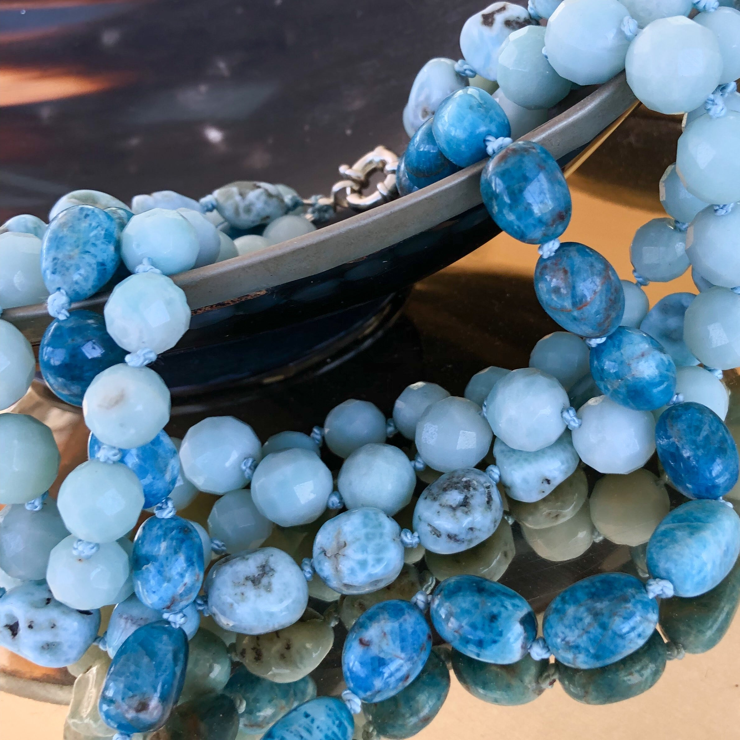 Larimar and apatite necklace