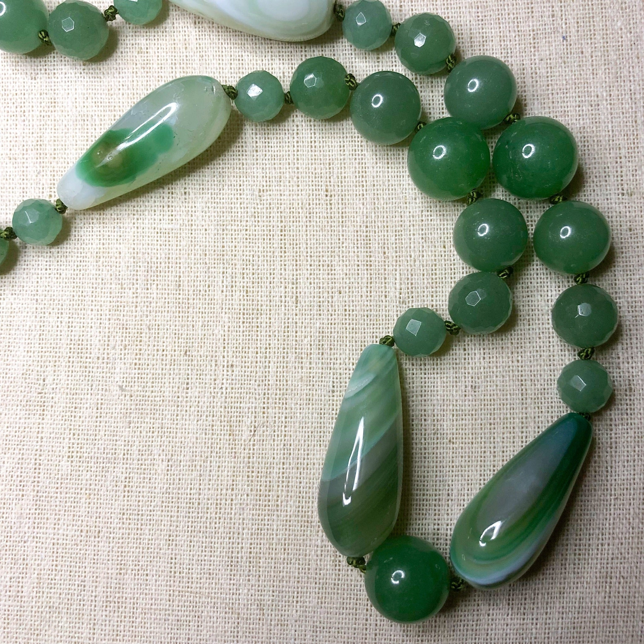 Aventurine and Agate long necklace
