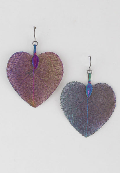 Leaf in Heart Earrings - Wild-Bunny-