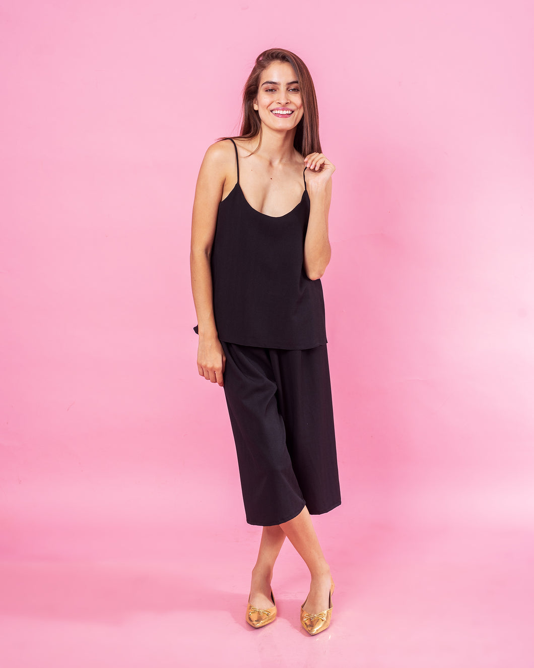 Palazzo Cropped Noir