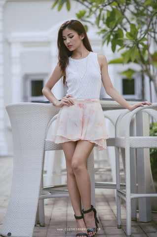 Dreamy Watercolour Print Skorts - Pink