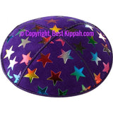 D93 - METALLIC BIG STARS EMBOSSING (Kippah)