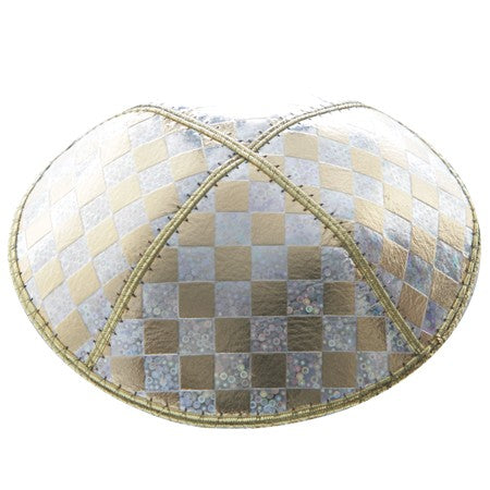 MET CHECKERBOARD LEATHER KIPPAH