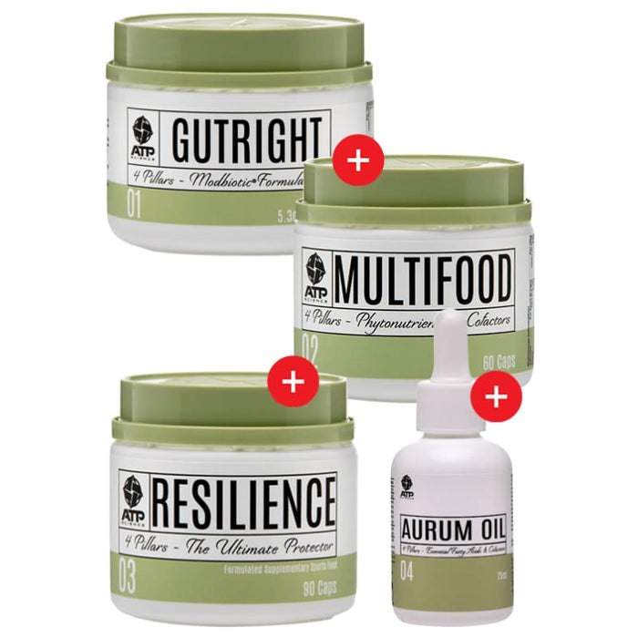Gutright + Multifood + Aurum Oil + Resilience by ATP Science! Genesis SUPPLEMENT PACK 643485990918 643485990918