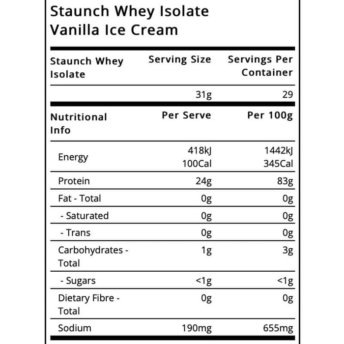 Whey Isolate (SHORT DATED) 12/19 by Staunch | Protein Powder