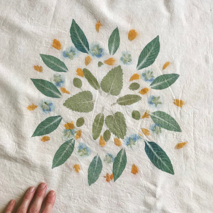 A botanical mandala on fabric
