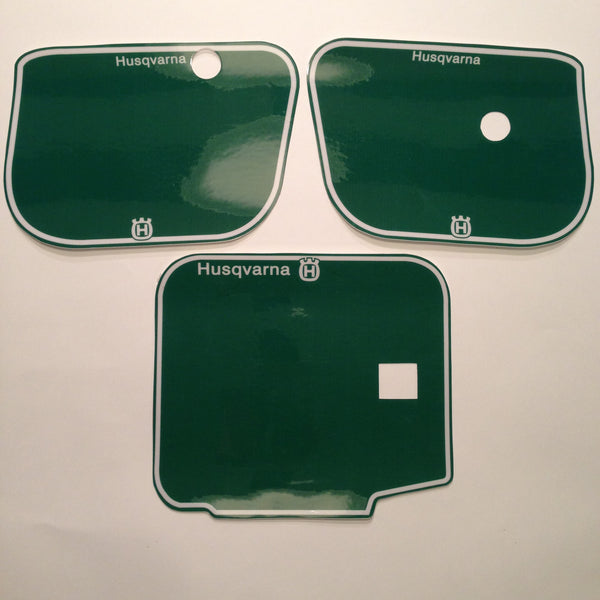 Husqvarna, 1983, Number Plate Background Decals, Green