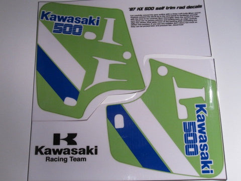 Kawasaki, 1987, KX 500, Rad Decals, Self Cut