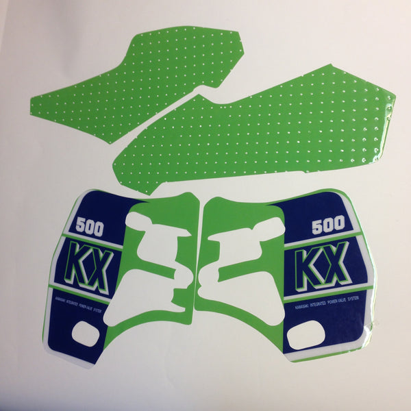 Kawasaki, 1989, KX 500, Tank and Rad Decal Kit, Reproduction