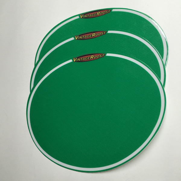 Oval Number Plate Background Decals, with Vintage Roost logo, Green, Reproduction