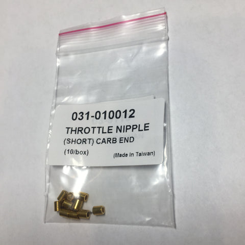 Cable Fittings, Throttle Nipple (Short) Carb End, 10 PK