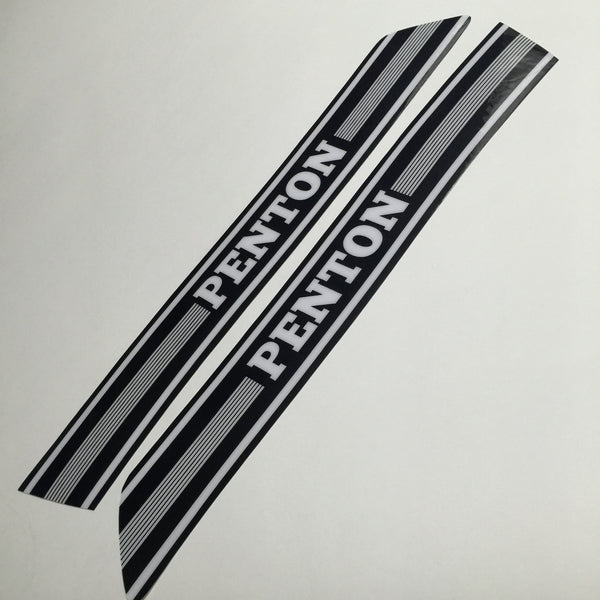 Penton, 1974-75 Tank Decals, White on Black, Reproduction