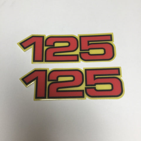 Yamaha, Side Panel Decals, 125, Red with Black and Yellow Outline