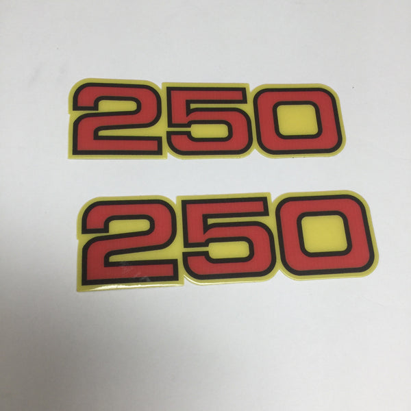 Yamaha, Side Panel Decals, 250, Red with Black and Yellow Outline, Reproduction