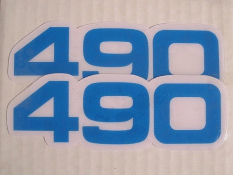Yamaha, Side Panel Decals, 490, Blue, Reproduction