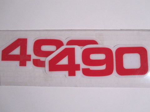 Yamaha, Side Panel Decals, 490, Red, Reproduction