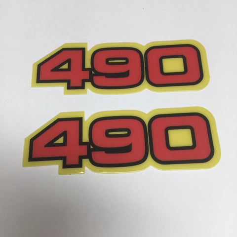 Yamaha, Side Panel Decals, 490, Red with Black and Yellow Outline