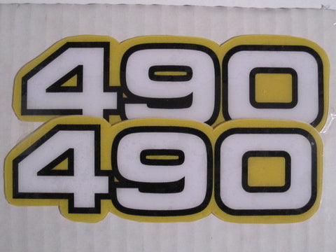 Yamaha, Side Panel Decals, 490, White, Reproduction