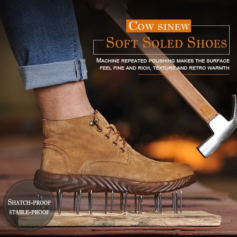 Puncture-proof & Antisquashy Soft Soled Shoes with Cow Sinew