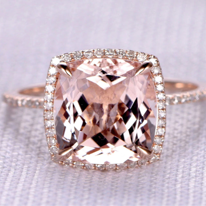 Hellojewelr 5.0 Carat Cushion Cut Synthetic Morganite Halo Engagement Ring