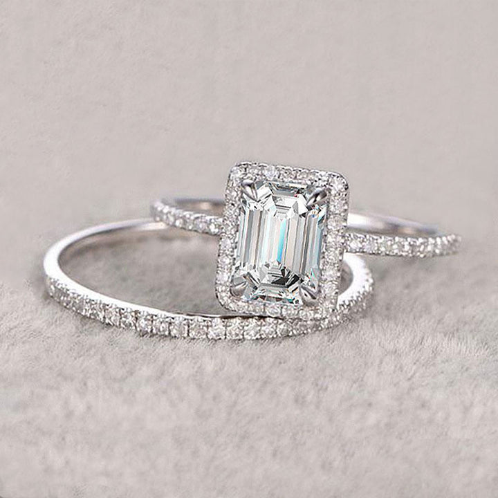 Hellojewelr Sterling Silver Halo 4.0 Carat Emerald Cut Women's Bridal Set